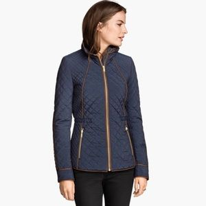 H&M Navy Quilted Fitted Jacket w/ Camel Piping